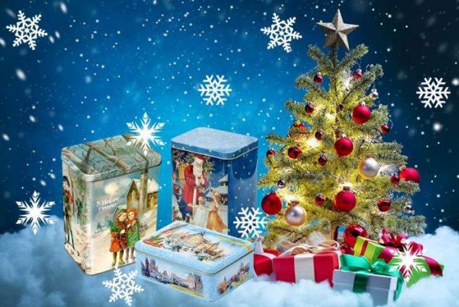 Жестяная коробочка как упаковка новогодних подарков