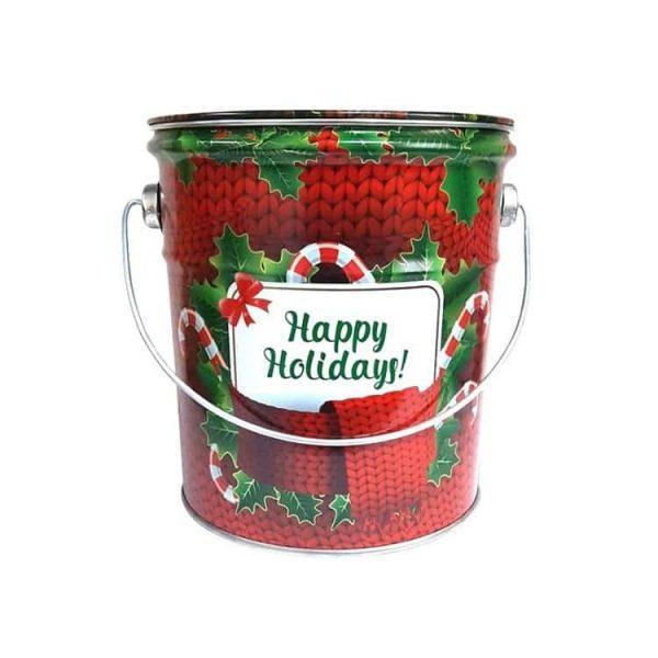 железное ведёрко с конфетами Happy Hollidays