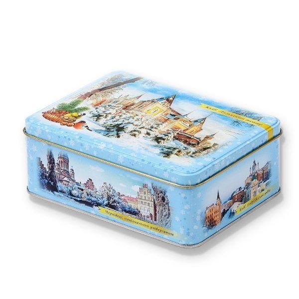 красивая новогодняя коробочка металлическая с конфетами