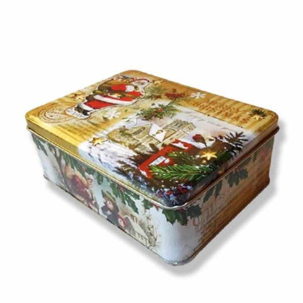 новогодняя жестяная коробочка с конфетами