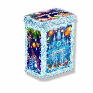 жестяная коробочка с конфетами к новому году